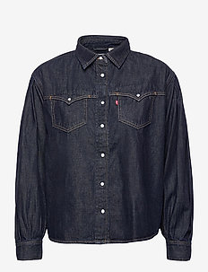 PAYTON LS WESTERN TONGUE TWIST - jeansblouses - dark indigo - flat finish