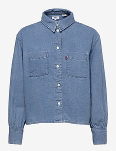 ZOEY PLEAT UTILITY SHIRT STAY - langærmede skjorter - med indigo - flat finish