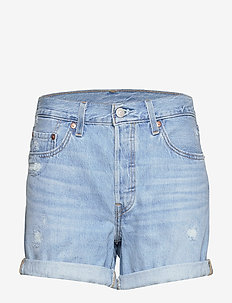 501 SHORT LONG MONTGOMERY MEND - denim shorts - light indigo - worn in