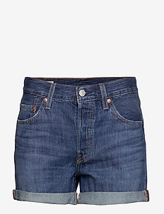 501 SHORT LONG SANSOME DRIFTER - denimshorts - med indigo - worn in
