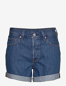 501 ROLLED SHORT SANSOME RANSO - denimshorts - med indigo - flat finish