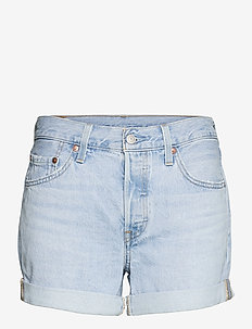 501 ROLLED SHORT LUXOR EROSION - denimshorts - light indigo - worn in