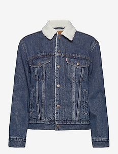 EXBF SHERPA TRUCKER ROUGH AND - denim jackets - med indigo - flat finish