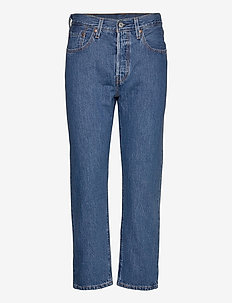 501 CROP SANSOME BREEZE STONE - mor jeans - med indigo - worn in