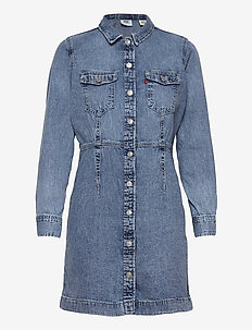 ELLIE DENIM DRESS PASSING ME B - shirt dresses - med indigo - worn in