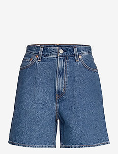 PLEATED RIBCAGE SHORT NOW AND - denimshorts - med indigo - flat finish