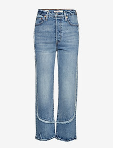 RIBCAGE STRAIGHT ANKLE ON THE - jeans droites - med indigo - worn in