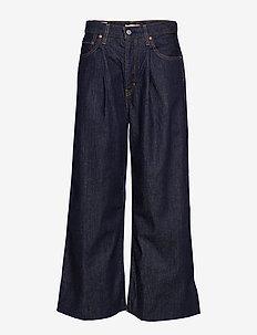RIBCAGE PLEATED CROP MOTOWN PH - utsvängda jeans - med indigo - worn in