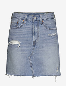 HR DECON ICONIC BF SKIRT GATEW - denim skirts - med indigo - flat finish