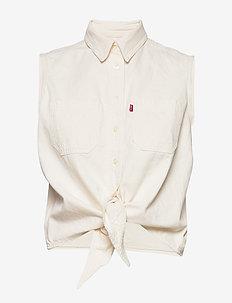 ALINA TIE SHIRT ICY ECRU (1) - kortermede skjorter - neutrals