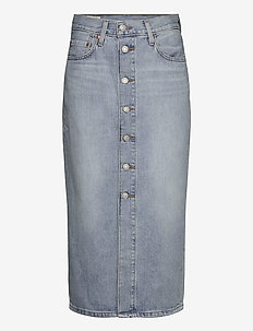 BUTTON FRONT MIDI SKIRT BLUE C - denim skirts - med indigo - worn in
