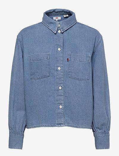 ZOEY PLEAT UTILITY SHIRT STAY - long-sleeved shirts - med indigo - flat finish