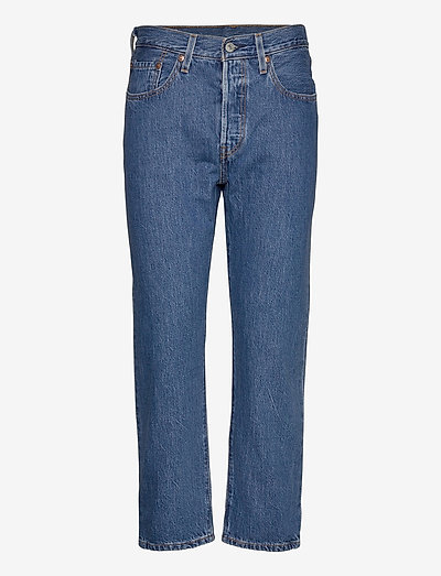 501 CROP SANSOME BREEZE STONE - mom jeans - med indigo - worn in