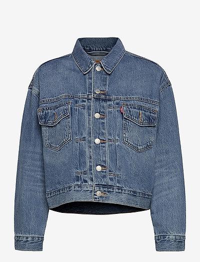 NEW HERITAGE TRUCKER TURN THE - denim jackets - med indigo - worn in