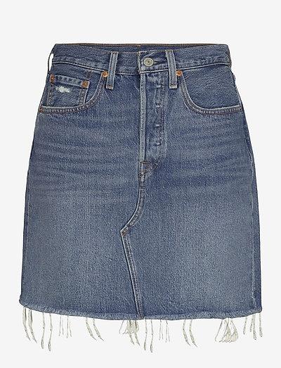 HR DECON ICNIC BFLY SKRT STUCK - denim skirts - med indigo - worn in