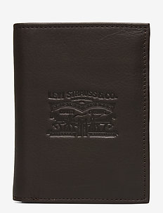 VINTAGE TWO HORSE VERTICAL COIN WALLET - DARK BROWN