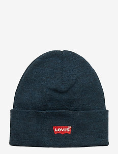 RED BATWING EMBROIDERED SLOUCHY BEANIE - NAVY BLUE