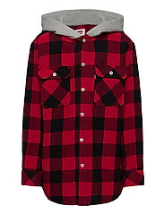 HOODED SHIRT JACKET - SUPER RED