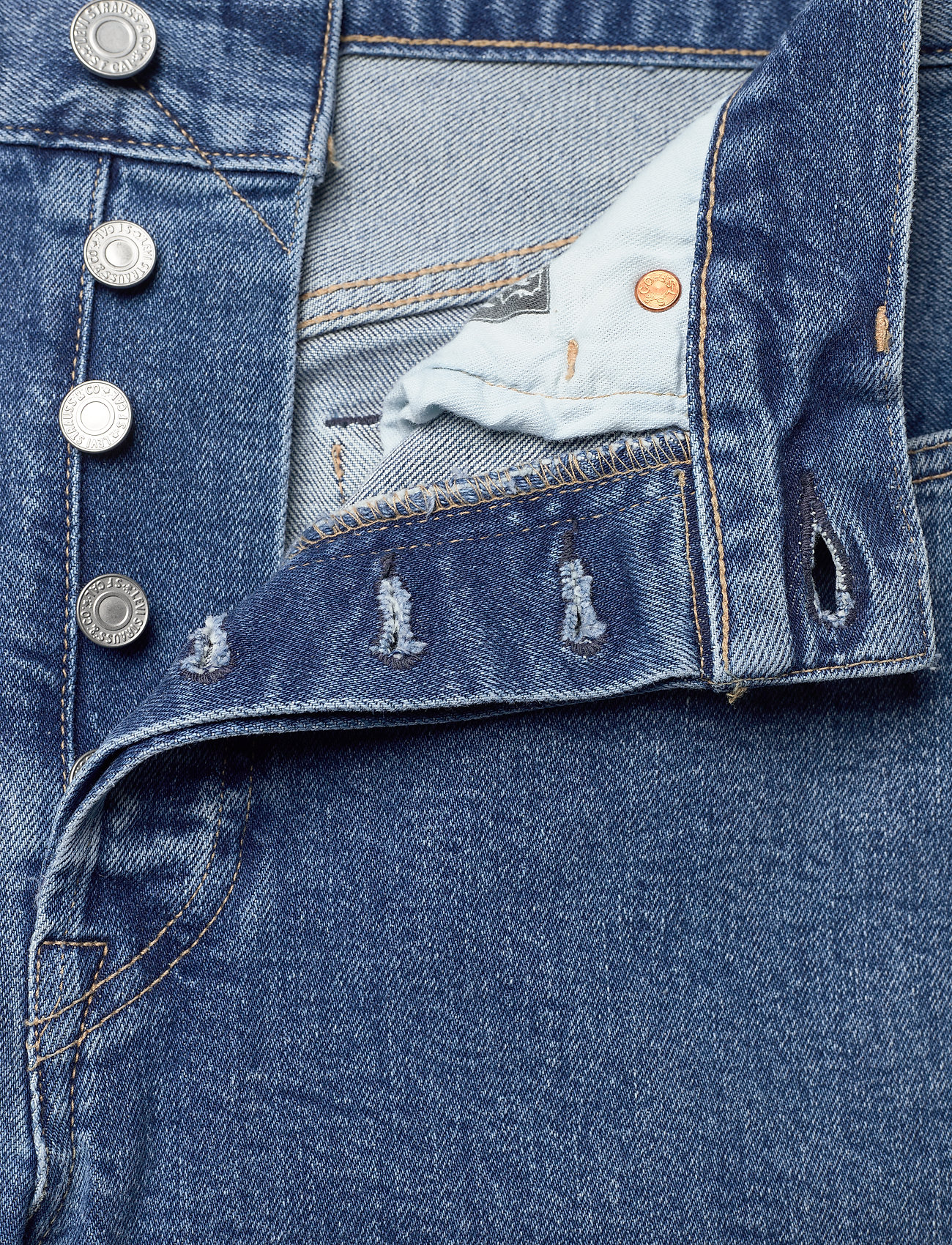 Levi's Made & Crafted - 501 CROP LMC CLIFFSIDE - straight regular - med indigo - worn in - 3