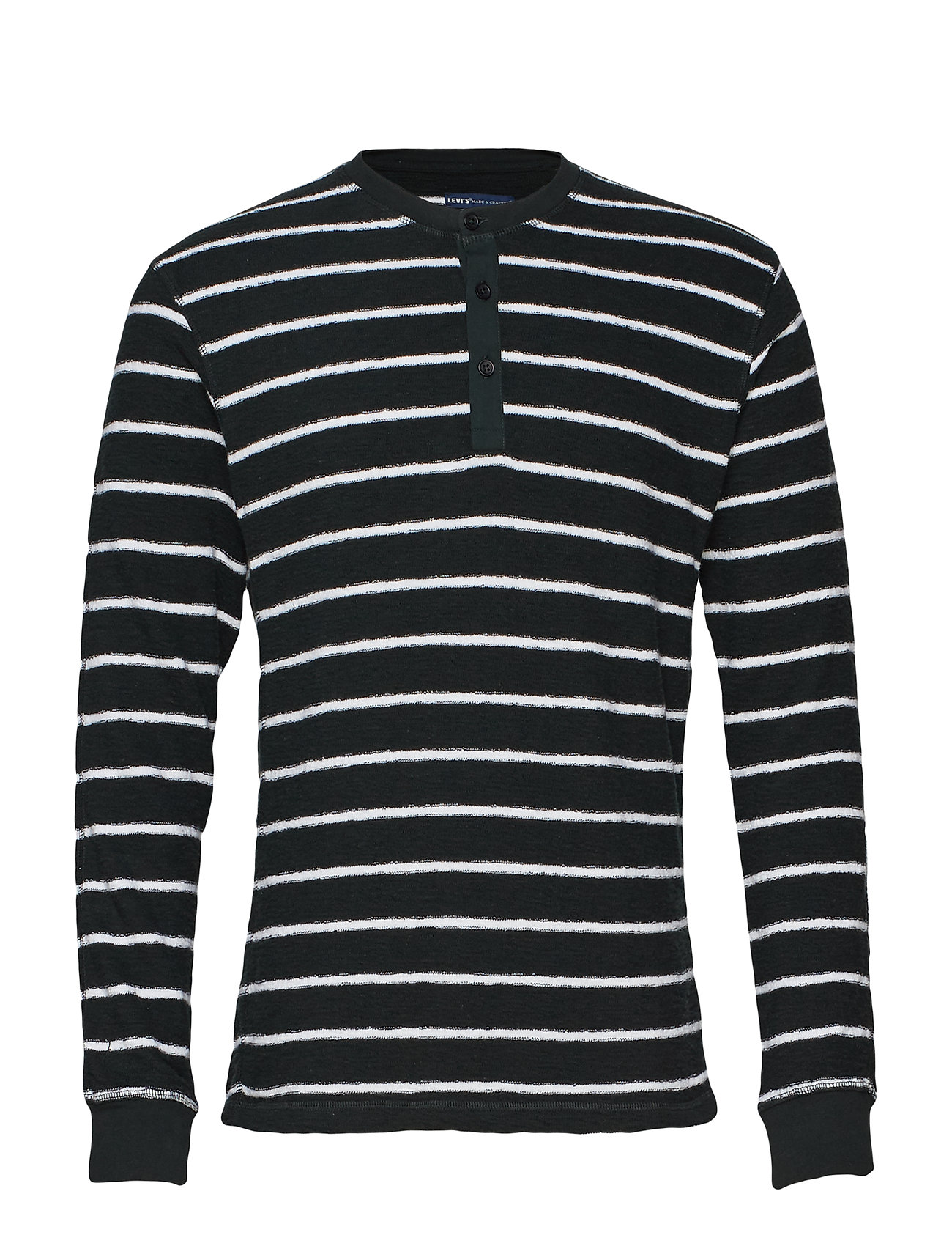 LEVI'S Lmc Henley Lmc Black Spur Stri T-Langärmliges Hemd Schwarz LEVI'S MADE & CRAFTED