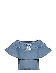 LMC DENIM RUFFLE TOP LMC SILVE - BLUES