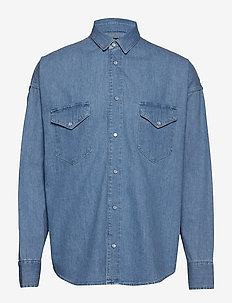 LMC DROP SHOULDER WESTRN LMC W - chemises shirts - light indigo - flat finis