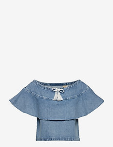 LMC DENIM RUFFLE TOP LMC SILVE - kortærmede bluser - blues