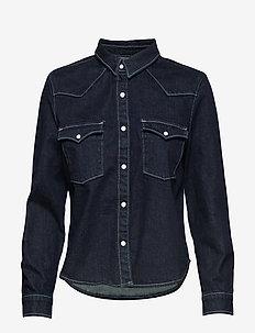 LMC S SHRNKN DNM SHIRT LMC SHR - jeansblouses - dark indigo - flat finish