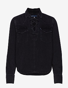 LMC DENIM LACE UP TOP LMC BLAC - dugim rękawem - blacks