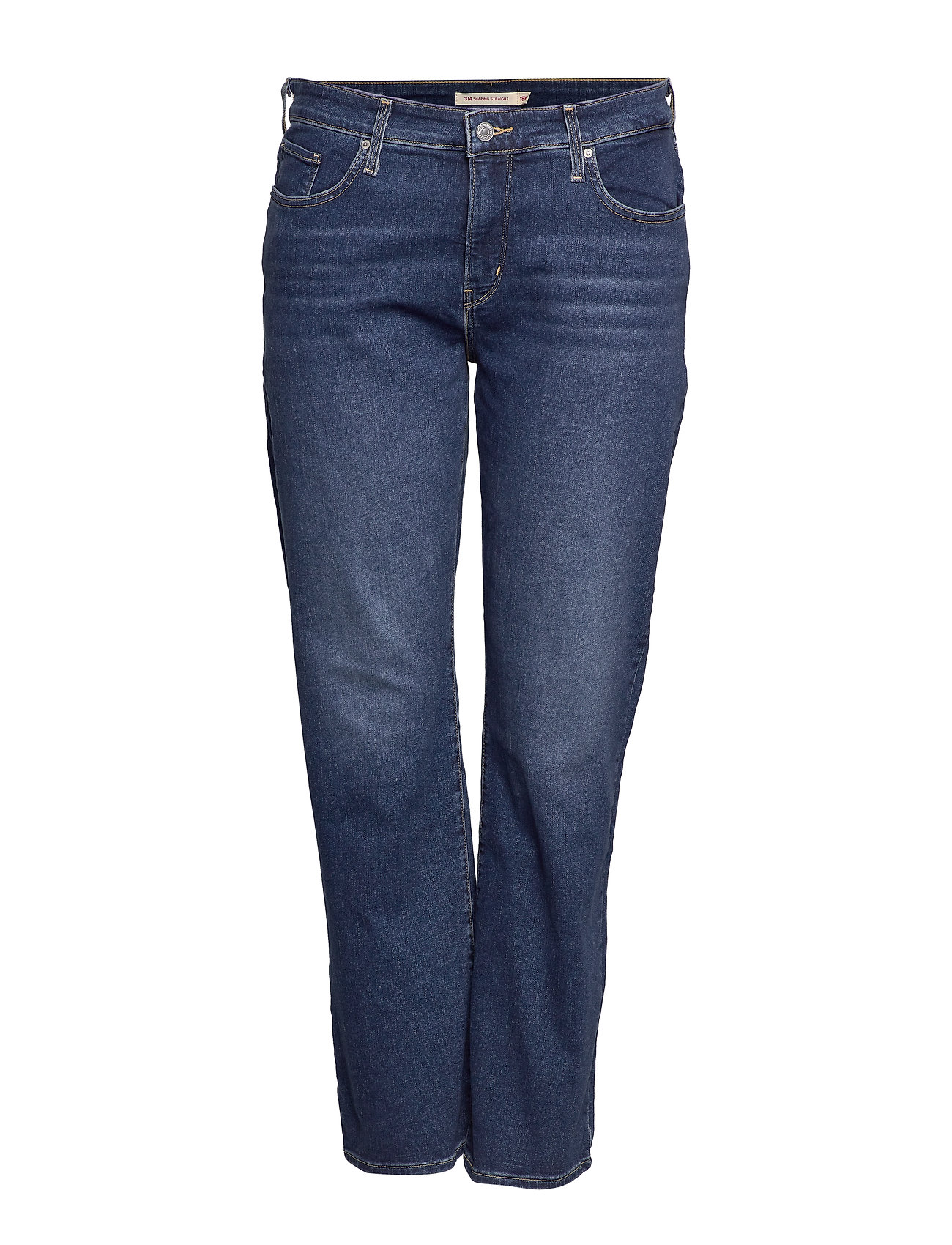 Levi's Plus Size 314 PL SHAPING STRAIGHT PARIS - MED INDIGO - WORN IN