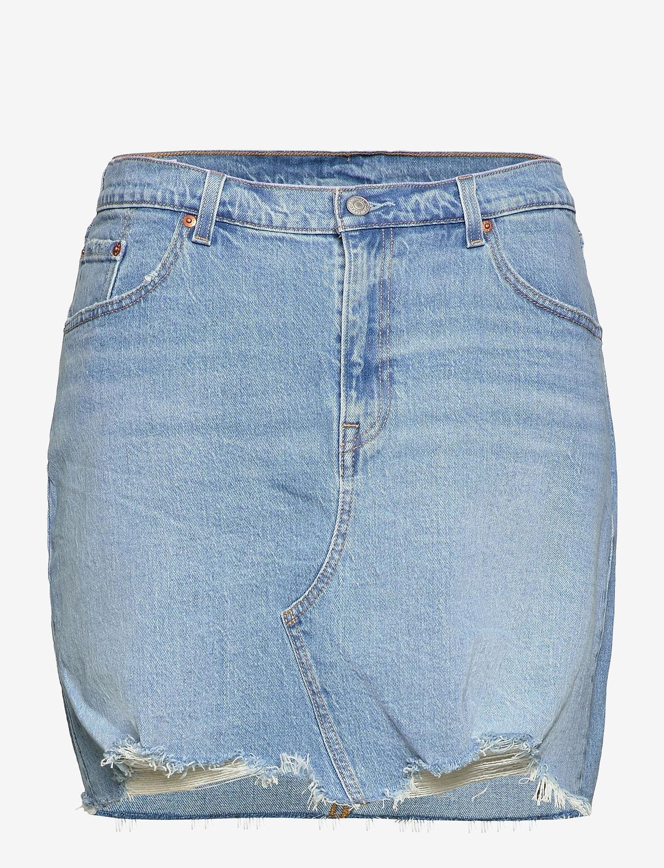 Levi's Plus Size - PL DECONSTRUCTED SKIRT LUXOR H - denim skirts - light indigo - worn in - 0