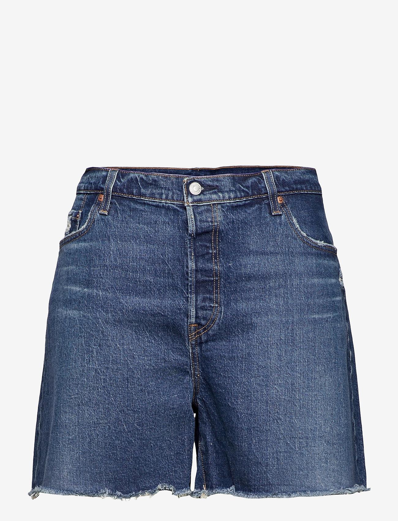 Levi's Plus Size - PL 501 ORIGINAL SHORT SALSA CH - korte jeansbroeken - med indigo - worn in - 0