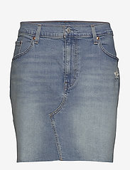 Levi's Plus Size - PL DECONSTRUCTED SKIRT GATEWAY - denim skirts - light indigo - worn in - 0