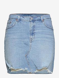 PL DECONSTRUCTED SKIRT LUXOR H - denim skirts - light indigo - worn in