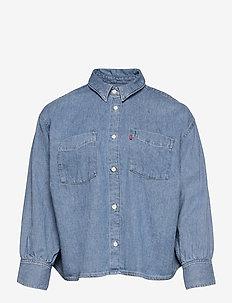 PL ZOEY PLEAT UTLTY SHRT STAY - long-sleeved shirts - med indigo - flat finish