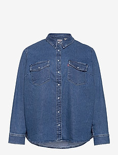 PL ESSENTIAL WESTERN GOING STE - denim shirts - med indigo - flat finish
