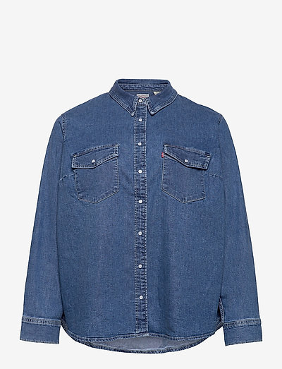 PL ESSENTIAL WESTERN GOING STE - jeansblouses - med indigo - flat finish