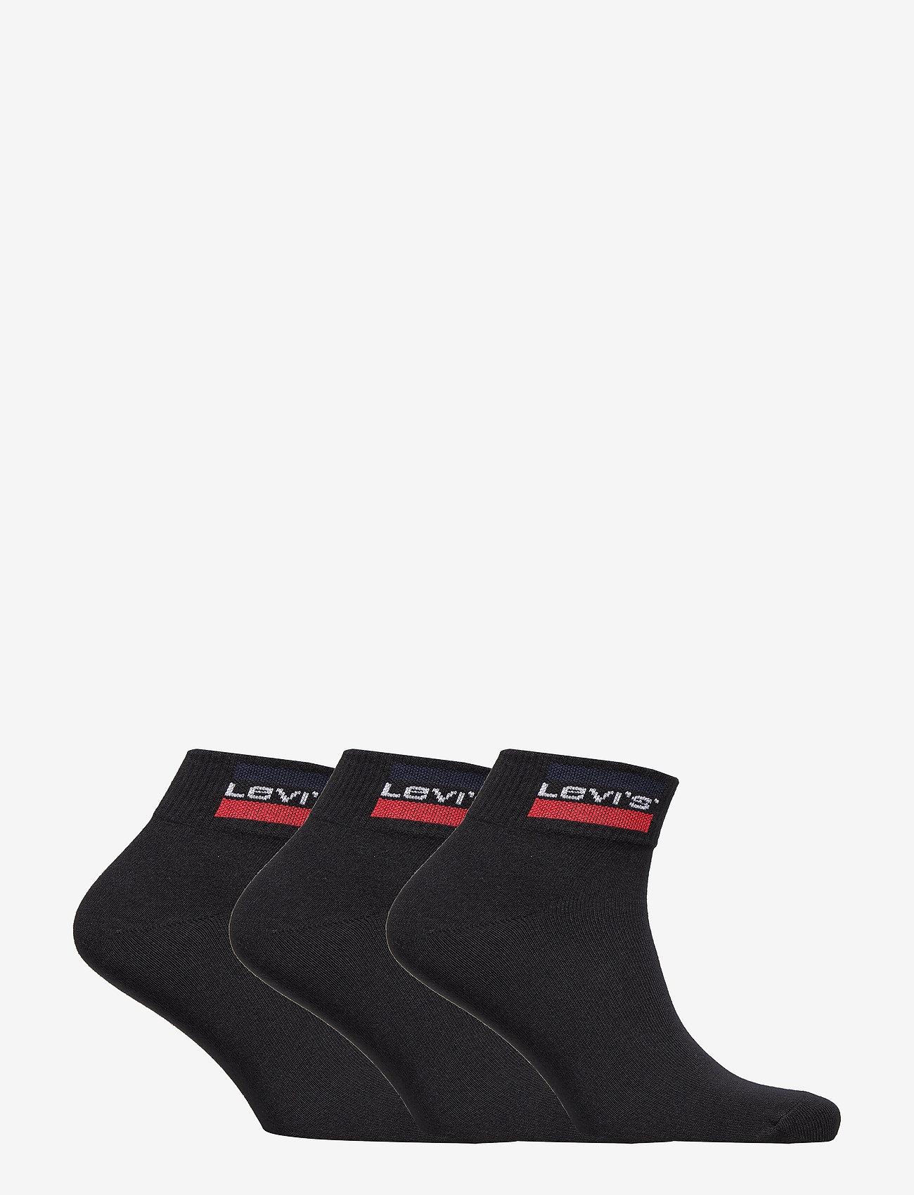 Levi´s - LEVIS 168NDL MID CUT SPRTWR LOGO 2P - ankle socks - black - 1