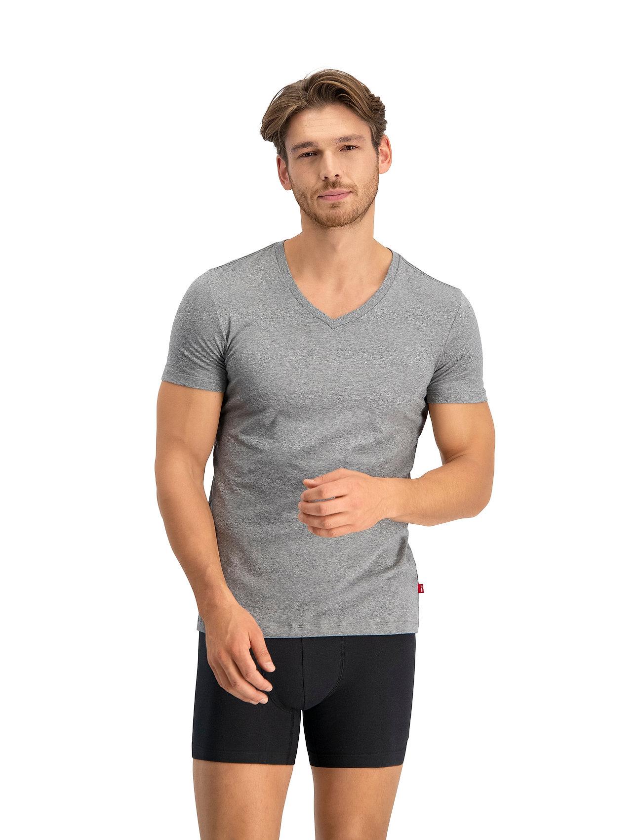 Levi´s - LEVIS MEN V-NECK 2P - t-shirts basiques - middle grey melange - 0