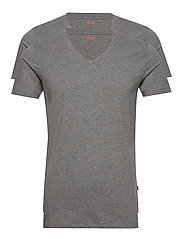 LEVIS MEN V-NECK 2P - MIDDLE GREY MELANGE