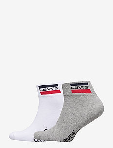 LEVIS 168NDL MID CUT SPRTWR LOGO 2P - ankle socks - white / grey