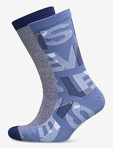 LEVIS REGULAR CUT LETTER OVERLAP 2P - normale sokken - blue