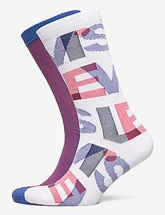LEVIS REGULAR CUT LETTER OVERLAP 2P - normale sokken - white / blue / red