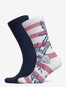 LEVIS REGULAR CUT STRIPE HELLO HAWA - regular socks - white / blue / red