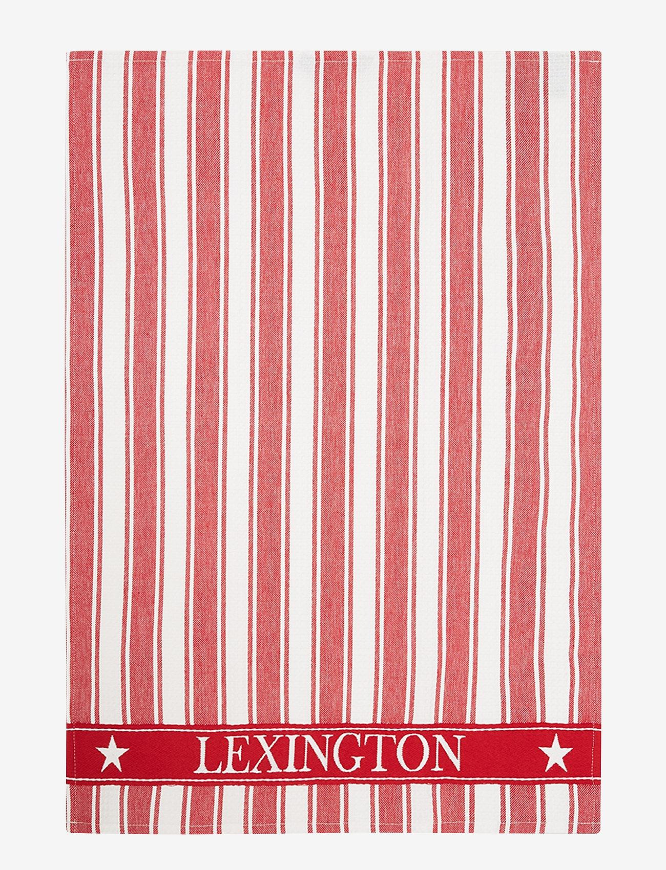 Lexington Home - Icons Cotton Twill Waffle Striped Kitchen Towel - ręczniki kuchenne - red/white - 0