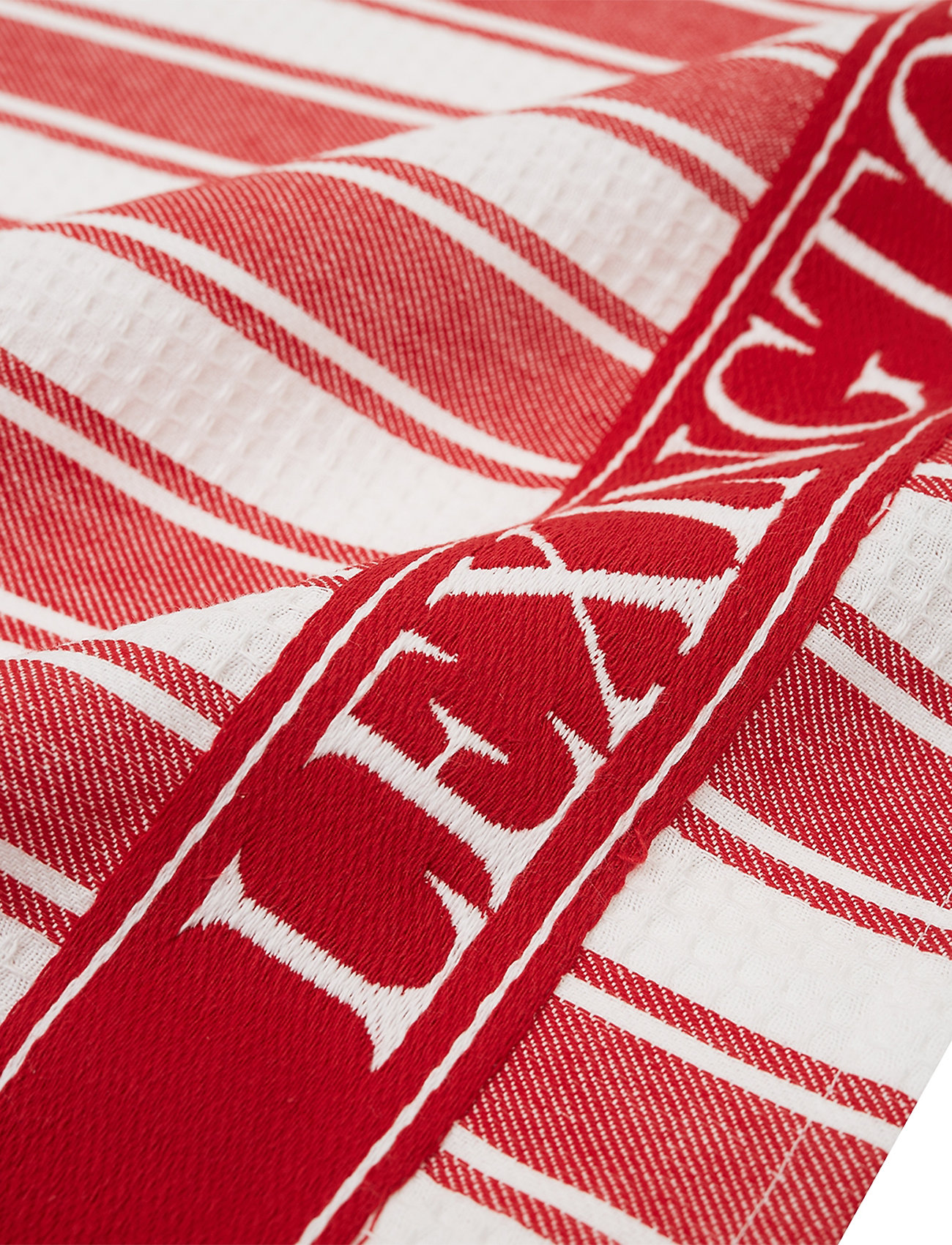 Lexington Home - Icons Cotton Twill Waffle Striped Kitchen Towel - torchons - red/white - 1