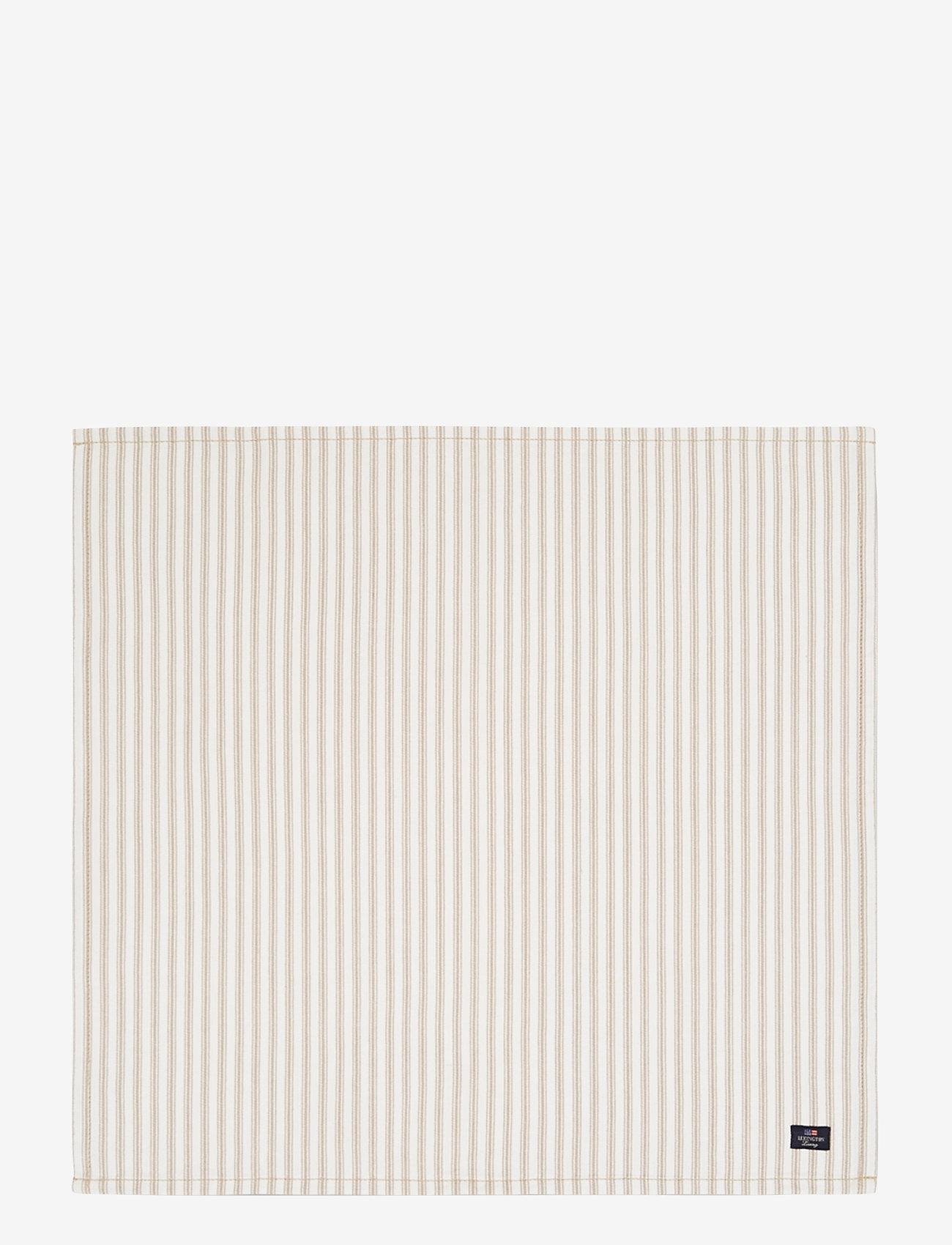 Lexington Home - Icons Cotton Herringbone Striped Napkin - pöytätabletit - beige/white - 0
