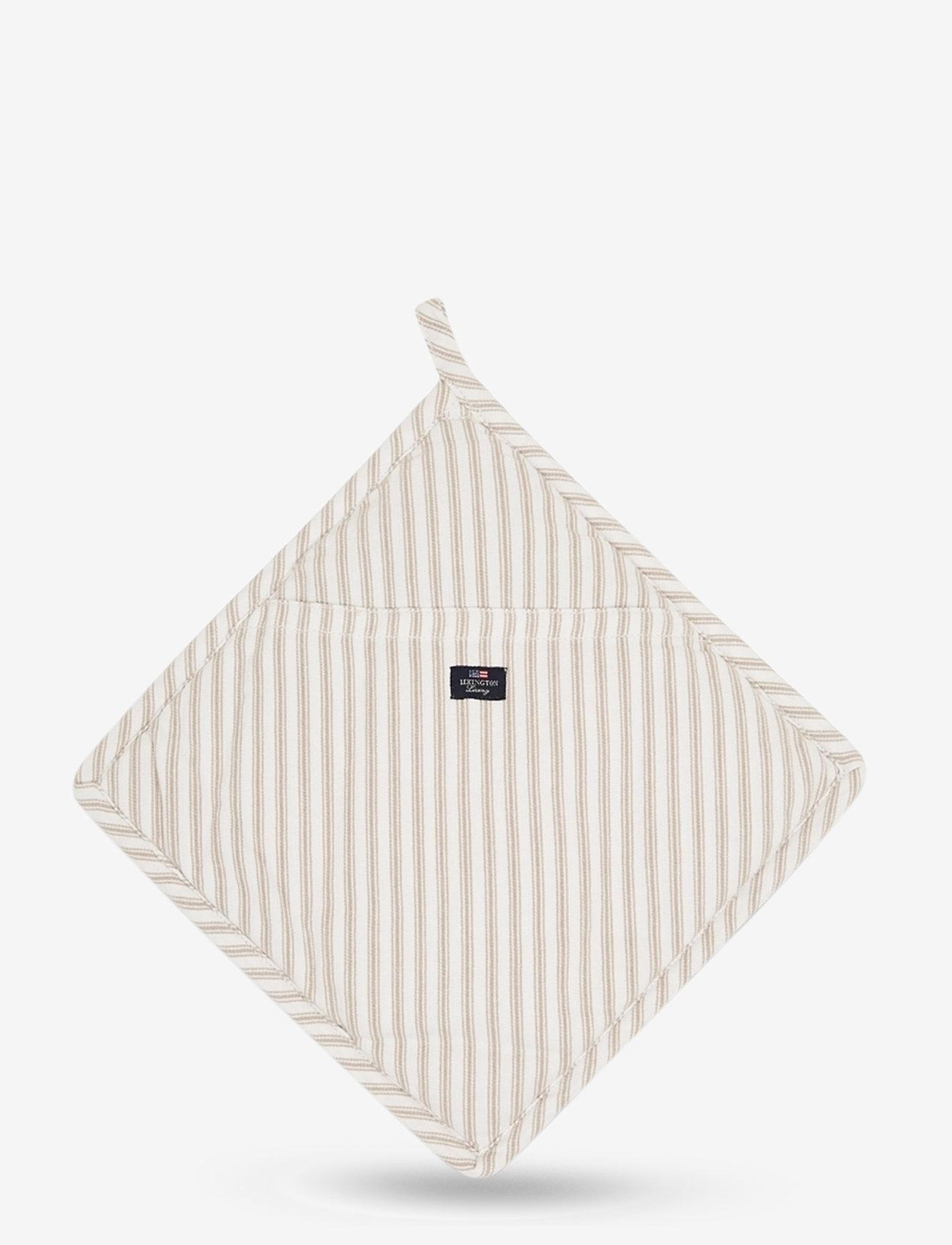 Lexington Home - Icons Cotton Herringbone Striped Potholder - pannulaput ja patakintaat - beige/white - 0