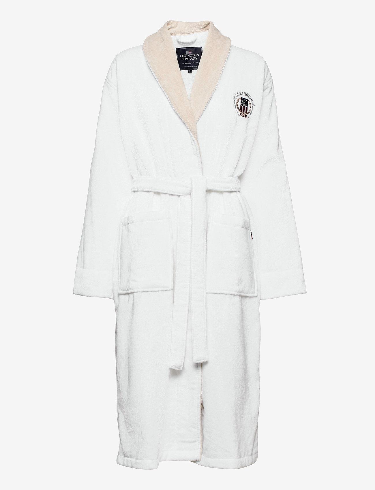 Lexington Home - Lexington Cotton Velour Contrast Robe - pegnoirs - white/lt beige - 0
