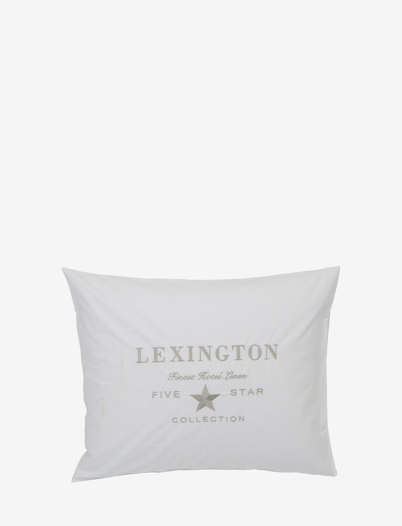 Lexington Home - Hotel Embroidery White/Lt Beige Pillowcase - tyynyliinat - white/lt beige - 0